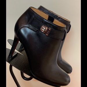 """NEW """"Coach"""" Black Leather Ankle Boots"""